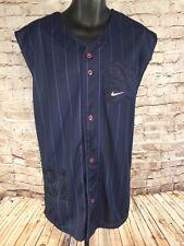 NIKE Heavyweight Baseball JERSEY Sleeveless Vest #31 Blue  Pin Stripe Men's XL
