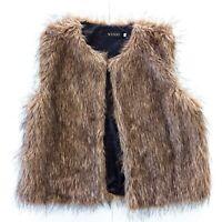 Wenxi Size XXL Brown Faux Fur Vest Women's Boho Sleevless
