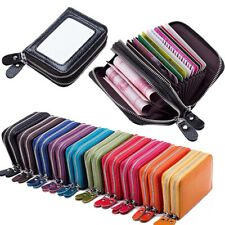 Genuine Leather RFID Blocking Credit ID Card Holder Pocket Wallet Zip Coin Purse