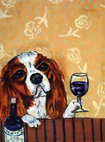 Cavalier King Charles Spaniel - Wine Bar Decor - dog art print - dog lover gift