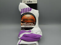Mens Purple & White Spalding Full Cushion Quarter Basketball Socks size XL