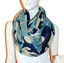 Soft Floral Light Weight X-large Infinity Scarf Loop Cowl-Black/Blue