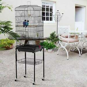 150cm Large Rolling Removable BlackPortable Metal Bird Cage