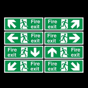 Fire Exit 300x100mm Sticker OR Rigid Plastic Sign - Emergency, Exit, BS Safety
