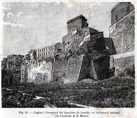 Cagliari: Panorama Quartiere Castello.Sardegna.Stampa Antica + Passepartout.1895