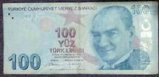 Turkey 100 lirasi circulated bank note