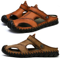 Mens Summer Closed Toe Sandals Sports Beach Casual Outdoor Hiking Leather Shoes