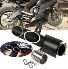 38mm-51mm Dual Outlet Universal Motorcycle Exhaust Muffler Tail Pipe Slip on