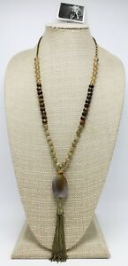 New Earthy Glass Bead & Stone Tassel Pendant Necklace by Anthropologie #ANT1