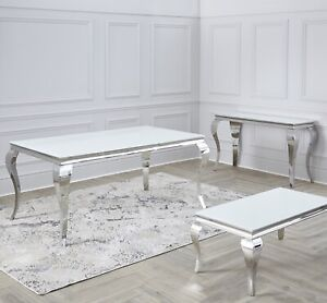 Louis Chrome Table Range Dining Console Coffee Tables Grey White , Marble, Black