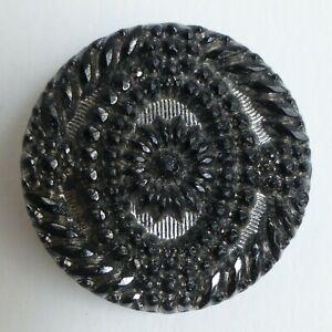 Button Antique - Glass Black Glossy - 27 MM - Victorian Black Glass Button