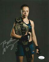 UFC ROSE NAMAJUNAS HAND SIGNED AUTOGRAPHED 8X10 PHOTO WITH JSA WITNESS COA 2