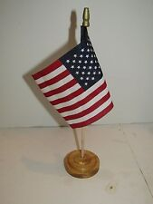 "USA American U.S.A. Flag 4""x6"" Table Stick Desk Set Wooden Wood Base"