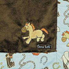 Trend Lab Baby Blanket Cowboy Horse Bronco Brown Blue Plush Security Stroller