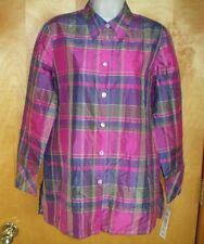 NEW womens size S 6/8 pink olive green blue KORET l/s silk tunic blouse shirt