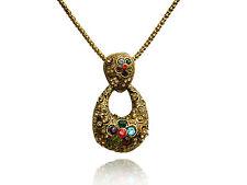 VINTAGE Antique Gold a Goccia con Cristallo Colorato Collana Lunga Ciondolo n186