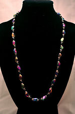 LADIES 20 INCH MAGNETIC NECKLACE: Rainbow Hematite & Black Beads; Helps Pain!