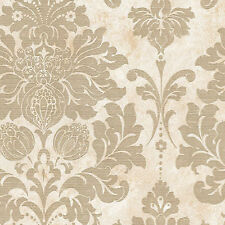 ONE DOUBLE ROLL - Gold Tan Cream Modern Designer Textured Damask Chic Wallpaper