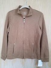 Karen Scott Women Solid Beige Ribbed Zip Front Cardigan Sweater Small NWT $46