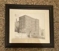 "signed  framed architecture drawing building 12"" x 15"""