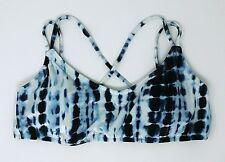 Victoria's Secret Velvet Scoop Beach Swim Bikini Top Blue Tie Dye LARGE