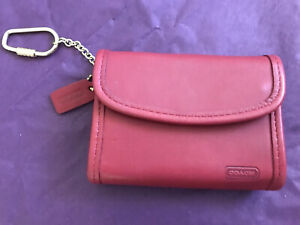 COACH VINTAGE RED MULTIFUNCTION Leather WALLET With KEYCHAIN 🌈