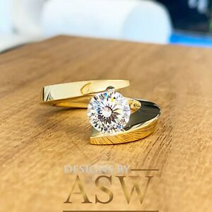 14k Solid Yellow Gold Round Cut Diamond Engagement Ring Tension Set Bridal 1.25