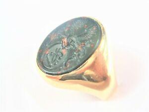Siegelring/ Wappenring Gold 585 mit Heliotrop, 12,98 g