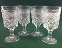 """4 Anchor Hocking WEXFORD Stemmed Water Wine Glasses Goblets 6 5/8"""" vtg set"""