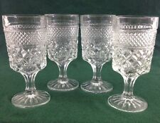 "4 Anchor Hocking WEXFORD Stemmed Water Wine Glasses Goblets 6 5/8"" vtg set"