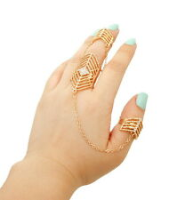 HOT Statement Gold Crystal 2 Finger Cocktail Double Ring By Rocks Boutique