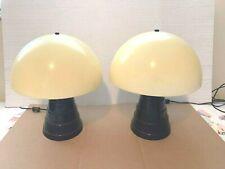 PAIR OF MID-CENTURY MUSHROOM SHADE TABLE LAMPS – ALUMINUM CONE BOTTOM
