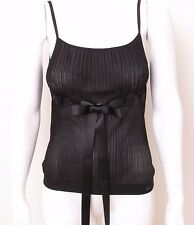 Chanel 06 Cruise Viscose Black Knit Top with Silk Ribbon FR38 UK 8 S