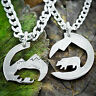 Bear and Mountain, Hiking Couples Necklaces, Interlocking hand cut coin