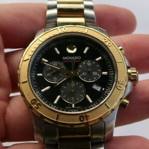 Men's Movado Authentic Chronograph Watch Wristwatch 24370182 Series 800 Two-Tone