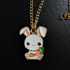 Lovely Cartoon Rabbit Carrot Enamel Necklace Pendant Fashion Jewelry Gift