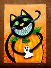 LWick Original Art ACEO Cat A Day 218 Animal Halloween big smile pumpkin ghost