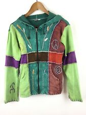 KPC Sz Medium Zip Hoodie Sweatshirt Jacket Multi-Color Peace Hippie Boho Casual