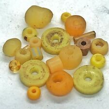 New Listing15+ Yellow Ancient & Medieval Glass Beads Mixed Old Roman, Venetian, Byzantine