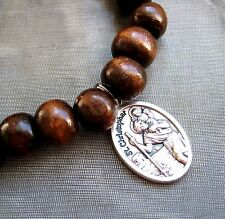 Saint St Christopher Medal on Coffee Wooden Beaded Bracelet Patron of Travellers