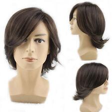 Dark Brown Man Wig Medium Long Curly Fluffy Wavy Hair Cosplay Fashion Men Wig