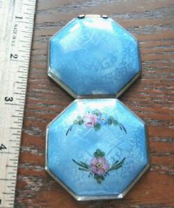Vintage art deco guilloche enamel powder rouge compact for vanity purse R & G Co