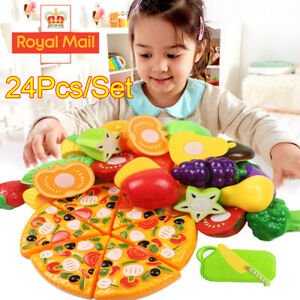 UK 24Pcs Fruits Vegetable Food Toy Child Kids Kitchen Role Play Cutting Cut Toy