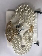 Vivienne Westwood Gold Orb 3 Row Pearls Choker Necklace