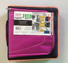 "NEW Five Star Zipper Binder + Tech Pocket, 2"", Pink Black, 12-3/4"" x 12"" NWT"