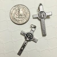"Saint St Benedict Cross Jesus Catholic Crucifix 1 1/2"" Silver Medal Pendant"
