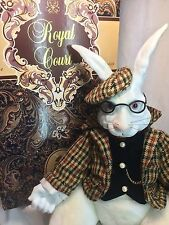"Royal Court 15"" White Bunny Rabbit Porcelain & Plush Doll w/ Glasses Houndstooth"