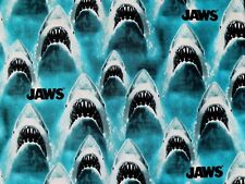 CLASSIC JAWS  GREAT WHITE SHARK  100% COTTON FABRIC UNIVERSAL STUDIO BY THE YARD