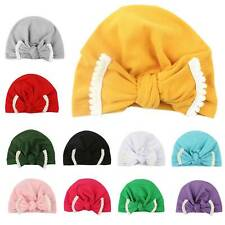 Toddler Kids Baby Girls Bow Turban Hat Head Wrap Headband Cotton Cap Headwear