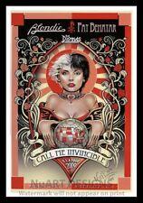 """Framed Vintage Style Rock 'n' Roll Poster """"BLONDIE - PAT BENATAR"""";12x18"""